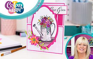 Colour Me Happy - 29th Jan - Aqua Tricolour & Stamps