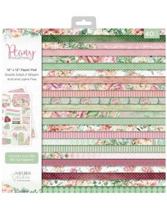 Crafter's Companion Nature's Garden Peony Collection 12x12 Paper Pad