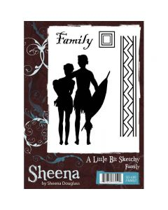 Sheena Douglass A Little Bit Sketchy A6 Rubber Stamp Set - Family Stamp