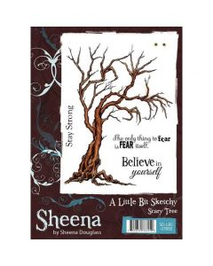 Sheena Douglass A Little Bit Sketchy A6 Rubber Stamp Set - Scary Tree