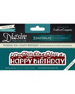 Die'sire Edge'ables Only Words Metal Die - Wishing You A Happy Birthday