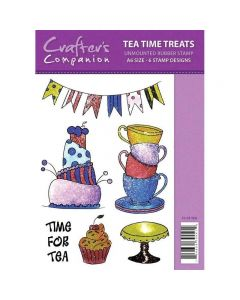 Sparkle by Spectrum Noir A6 Rubber Stamp - Tea Time Treats