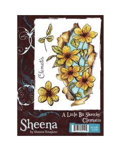 Sheena Douglass A Little Bit Sketchy A6 Rubber Stamp Set - Clematis