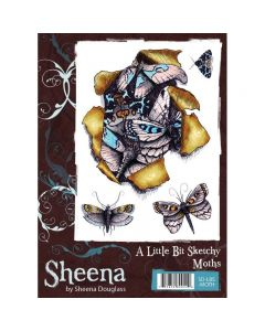 Sheena Douglass A Little Bit Sketchy A6 Rubber Stamp Set - Moths