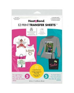 Heat'n Bond EZ Print Transfer Sheets (For Light and Dark Fabrics)