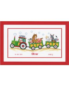 Groves Counted Cross Stich Kit Birth Record- Tractor