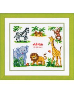 Groves Counted Cross Stich Kit Birth Record- Zoo Animals