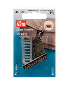 Prym Brushed Antique Brass Turn Clasp for Bags
