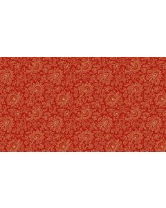 Makower Riviera Rose fabric - Small Jacobean Red