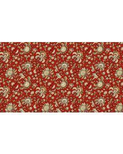 Makower Riviera Rose fabric - Small Jacobean Crimson