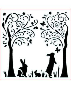 Imagination Crafts Stencil 6x6 - Bunny Trees