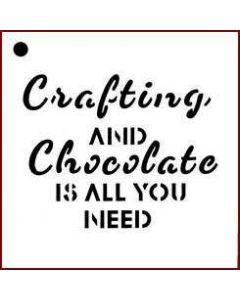 Imagination Crafts Mini Stencil - Crafting and Chocolate Is All You Need