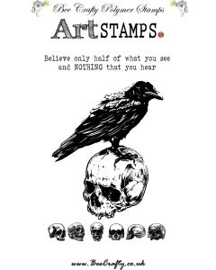 Bee Crafty Art Stamps - Skull with Raven