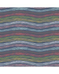 Sara Signature Sew Retro Fabric - Navy Waves