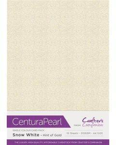 Crafter's Companion Centura Pearl Snow White Hint of Gold A4 Printable Card Pack - 10 Sheets
