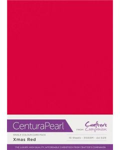 Crafter's Companion Centura Pearl Single Colour A4 10 Sheet Pack - Xmas Red