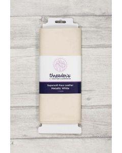 Threaders Faux Leather Fabric 137cm x 50cm - Metallic White