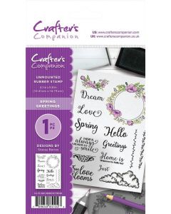 Crafter's Companion A6 Rubber Stamp - Spring Greetings