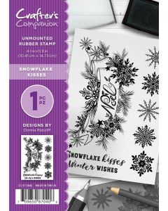 Crafter's Companion A6 Rubber Stamp - Snowflake Kisses