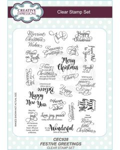 Creative Expressions A5 Clear Stamp Set - Festive Greetings