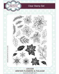Creative Expressions A5 Clear Stamp Set - Wintery Flowers and Foliage