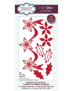 Creative Expressions Festive Collection Craft Die - Poinsettia Ribbon Border