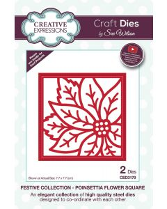 Creative Expressions Festive Collection Craft Die - Poinsettia Flower Square