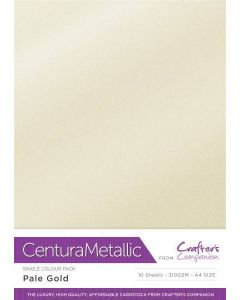 Crafter's Companion Centura Pearl Metallic A4 Single Colour 10 Sheet Pack - Pale Gold