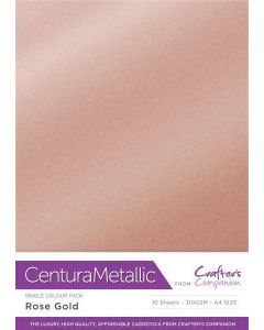 Crafter's Companion Centura Pearl Metallic A4 Single Colour 10 Sheet Pack - Rose Gold