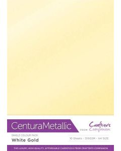 Crafter's Companion Centura Pearl Metallic A4 Single Colour 10 Sheet Pack - White Gold