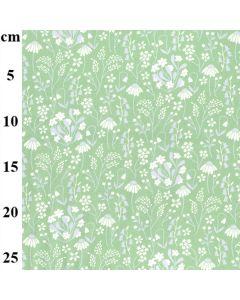 Rose & Hubble 100% Cotton Poplin Medium Floral Designs - Green