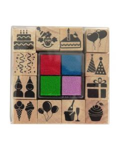 Craft Sensations Wooden Stamp Set and Ink Pads - Birthday with red, blue, green, lilac ink pads