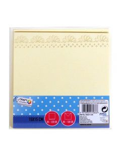 Craft Sensations 15x15cm Scalloped Edge Card and Envelope Packs Cream - 8 pack