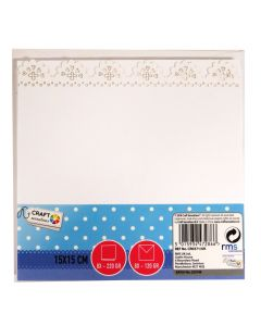 Craft Sensations 15x15cm Scalloped Edge Card and Envelope Packs White - 8 pack