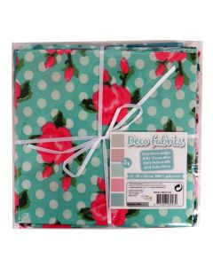 Craft Sensations 50x50cm 100% Polyester Deco Fabric - Green and Pink Floral Designs
