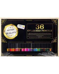 Craft Sensations 36 Coloured Pencils in Wooden Case