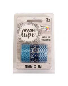 Craft Sensations Adhesive 15mm x 3m Washi Tape 3 Pack - Blue Designs