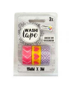 Craft Sensations Adhesive 15mm x 3m Washi Tape 3 Pack - Pink, Yellow and Purple Designs
