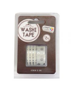 Craft Sensations Adhesive 15mm x 3m Washi Tape 2 Pack - Silver Dots and Flowers