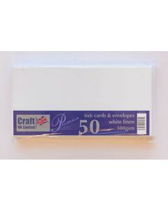 Craft UK 6x6 Linen Finish White Card and Envelopes - pack of 50