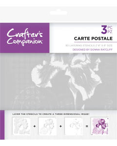 Crafter's Companion 3D Layering Stencils - Carte Postale
