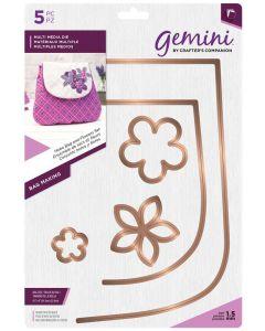 Gemini Multi Media Bag Making Metal Die - Hobo Bag and Flowers Set