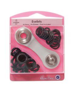 Hemline 10.5mm (F) Eyelets Starter Kit - Black