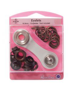 Hemline 10.5mm (F) Eyelets Starter Kit - Bronze