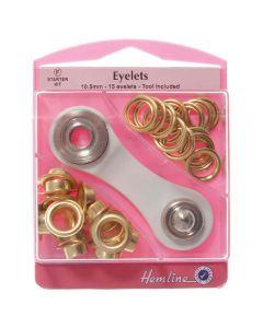 Hemline 10.5mm (F) Eyelets Starter Kit - Gold