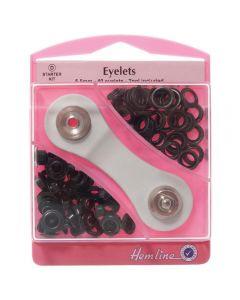 Hemline 5.5mm (D) Eyelets Starter Kit - Black