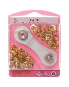 Hemline 5.5mm (D) Eyelets Starter Kit - Gold