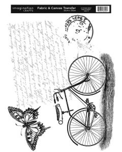 Imagination Crafts Fabric & Canvas (25x35cm) Transfer - Bicycle & Butterfly