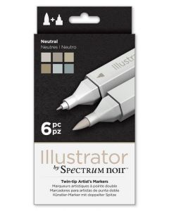 Illustrator by Spectrum Noir 6 Pen Set - Neutral