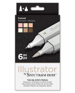 Illustrator by Spectrum Noir 6 Pen Set - Portrait